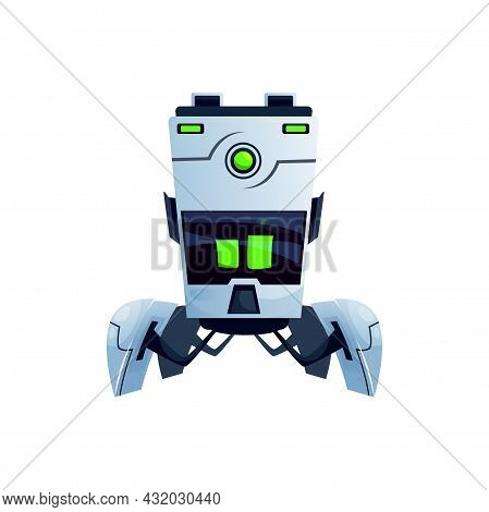 Futuristic Ai Robot With Big Display And Folding Legs With Grabs Isolated Realistic Icon. Vector Art