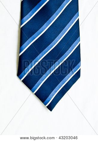 Striped Blue And White Tie Isolated On White Background.