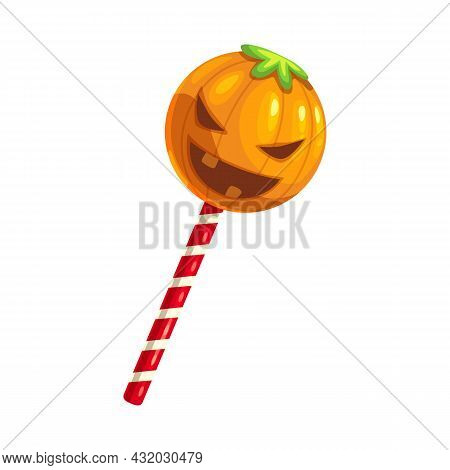 Gummy Pumpkin On Stick Isolated Halloween Chewy Gum. Vector Caramel Lollipop, Sweet Jelly Round Cand