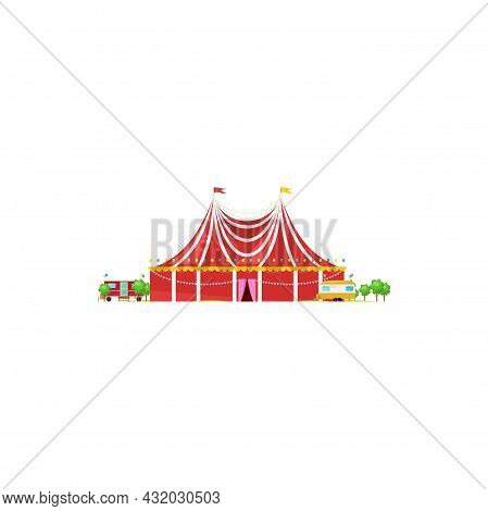 Chapito Circus Tent With Striped Roof And Flag On Top Isolated Building. Vector Magic Traveling Cirq