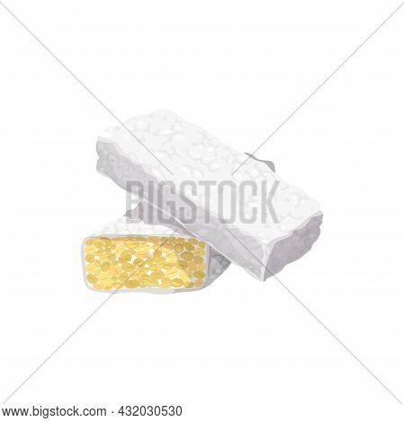 Fried Tempe Goreng Isolated Tempeh Piece Asia Food Realistic Icon. Vector Thai Famous Snack, Homemad