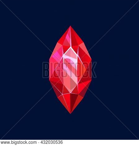 Red Magic Crystal, Gem Or Precious Rock, Vector Icon. Mineral Crystalline Stone Of Piked Oval Shape,