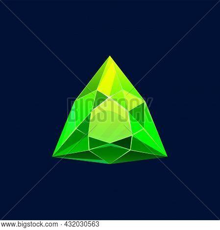 Green Magic Crystal Vector Icon, Rock, Gem Stone. Triangular Faceted Shape Of Precious Or Semiprecio