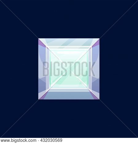 Gem Stone Or Magic Crystal Vector Icon. Violet Or Turquoise Faceted Square Rock, Mineral, Glass Or Q