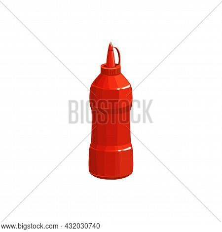 Ketchup Bottle Fast Food Tomato Sauce, Vector Isolated Icon. Fastfood Restaurant And Street Food Caf