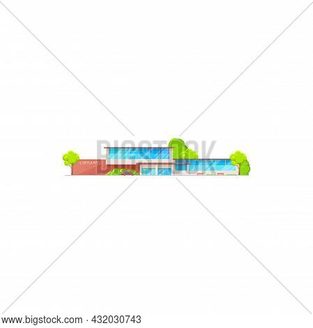 Library, Book Building Icon, Vector Education Architecture, Isolated School Study House. Public Libr