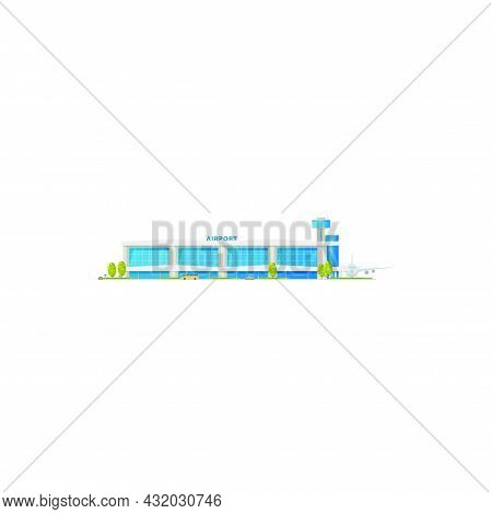 Control Tower And Airport Building Isolated Glass Construction Icon. Vector Passenger And Cargo Plan