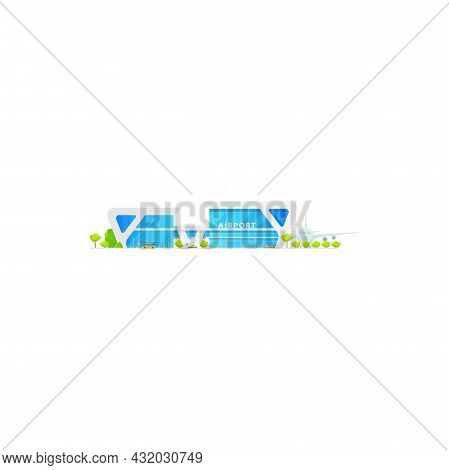 Concourse Airport Terminal Building And Airplanes Isolated Icon. Vector Glass Airport Construction,