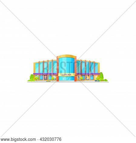 Cinema Building, City Architecture, Movie Or Entertainment House, Vector Film Theater Facade. Cinema
