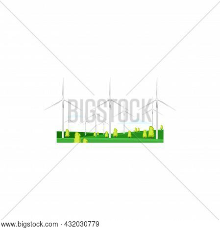 Energy Windmill, Wind Mill Turbine Power, Vector Green Renewable Energy Isolated Icon. Electric Indu