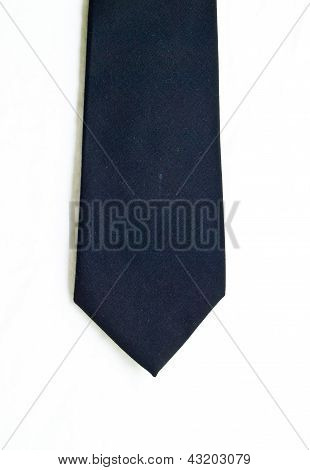 A  Black Tie Isolated On White Background.