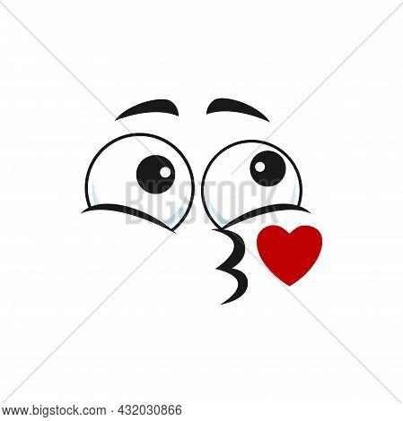 Cartoon Face Send Air Kiss Vector Emoji Kissing Blow Red Heart. Fall In Love Funny Facial Expression