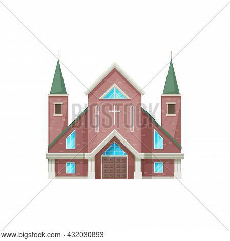 Catholic Church Building Vector Icon. Cathedral, Chapel And Monastery Facade, Medieval Church Exteri