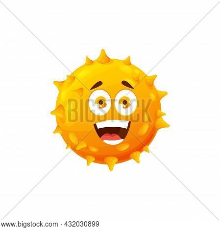 Cartoon Virus Cell Vector Icon, Funny Bacteria Or Germ Character With Happy Smiling Face. Covid Path