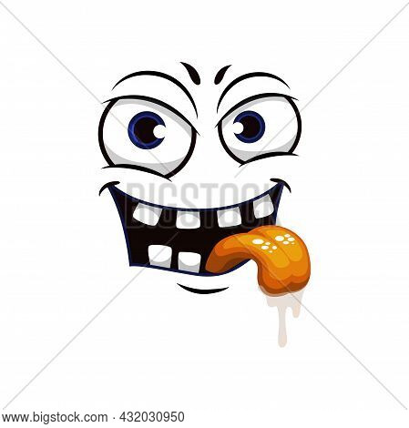 Cartoon Face Isolated Vector Icon, Facial Lustful Emoji Of Funny Creature, Emotion Toothy Smile With