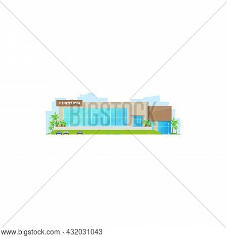 Front View Of Beauty Fitness Gym Isolated Modern Building. Vector Public Architectural Business Spor