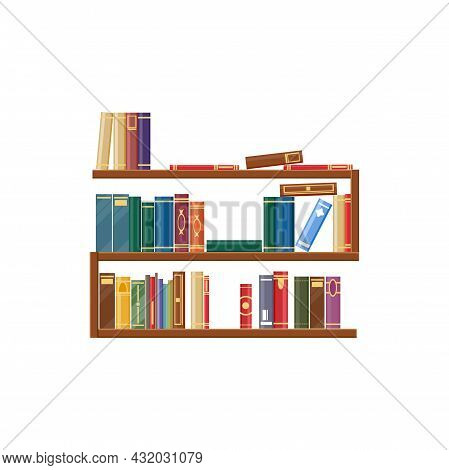 Bookcase, Bookshelf With Books, Library Shelves Isolated Icon. Vector Piles Of Standing Dictionaries