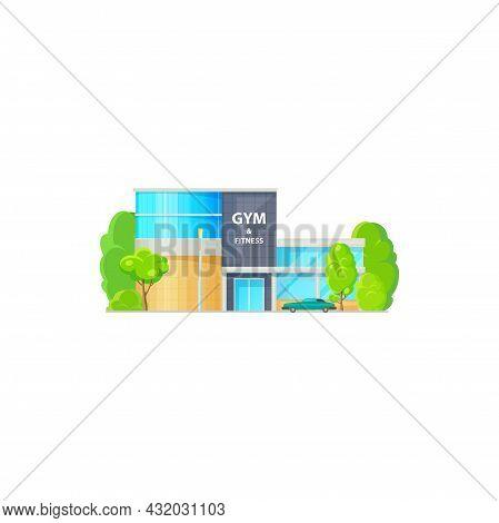Luxury Fitness Center In Elite Urban Area Isolated Cartoon Icon. Vector Gym Sport Club, City Archite