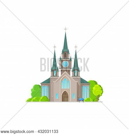 Evangelical Church Facade Exterior Isolated Religion Architecture Flat Cartoon Icon. Vector Catholic
