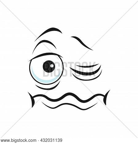Cartoon Face Vector Funny Sleepy Facial Emoji With Unhappy Closed And Open Eyes And Tremble Mouth. C