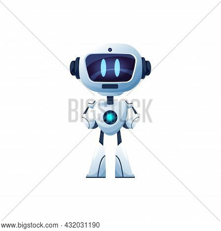Cartoon Robot Vector Cyborg, Toy Or Bot Character, Artificial Intelligence Technology. Friendly Ai H