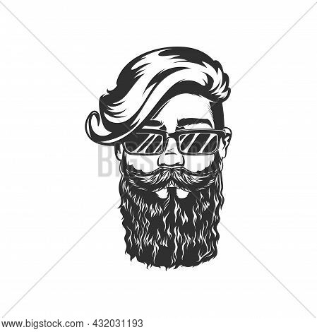 Retro Hipster Man With Beard And Moustaches In Cute Sunglasses Isolated Bearded Gentleman Portrait M