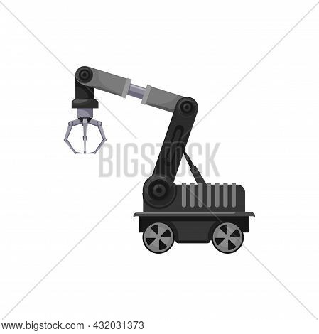 Machinery Manufacture Robot Arm With Claw On Wheels Isolated Factory Automation. Vector Factory Logi