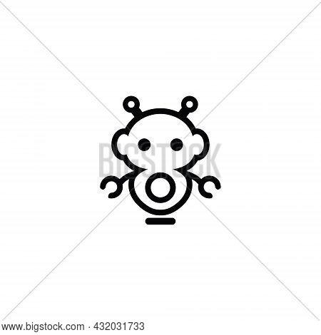 Robot Vector Logo Design. Robot Character, Robot Illustration On White Background.
