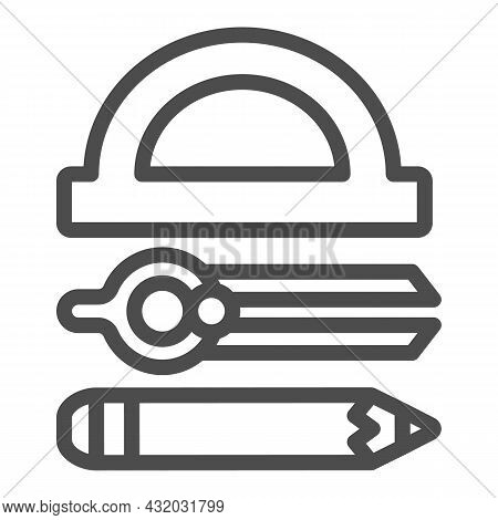 Protractor, Drawing Compass And Pencil Line Icon, Stationery Concept, Drafting Tool Vector Sign On W