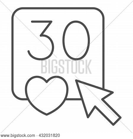 Click On Number 30 And Heart Thin Line Icon, Dating And Relationship Concept, Love Thirty Vector Sig