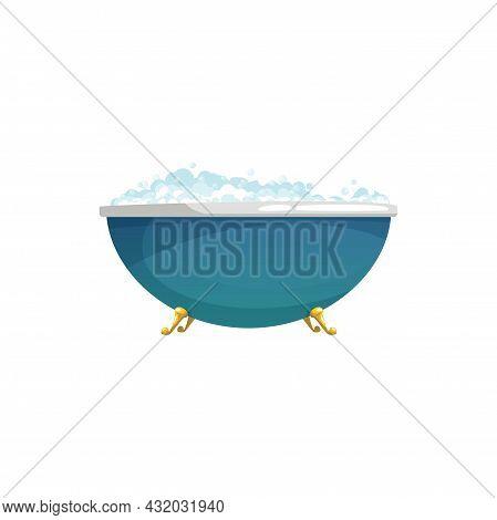 Blue Round Bathtub On Golden Legs Isolated Home Toilet Room Furniture Equipment. Vector Cartoon Bath