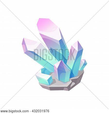 Crystal Gem Stone, Quartz Jewel Or Gemstone Icon, Vector Mineral Rock. Diamond Crystal Or Pink Blue