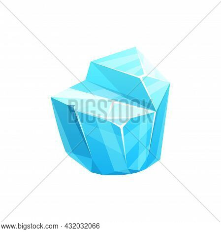 Ice Crystal Icon, Iceberg Cube Of Cold Snow Block, Vector. Blue Frozen Water Or Winter Icicle And Gl
