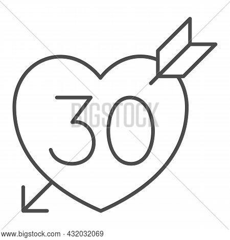 Number 30 In Heart Pierced By Arrow Thin Line Icon, Love And Relationship Concept, Thirty Vector Sig