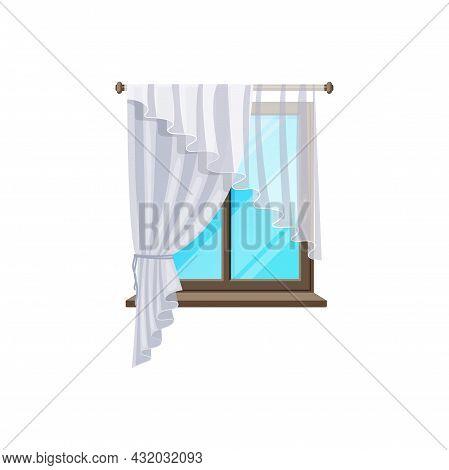Window Curtain Blinds On Flat Glass Frame, Vector Interior Retro White Drape Or Transparent Drapery