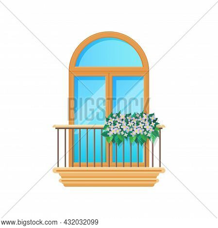 Balcony With Window And Fence Railing Or Banister, Vector Building Architecture House Facade. Balcon
