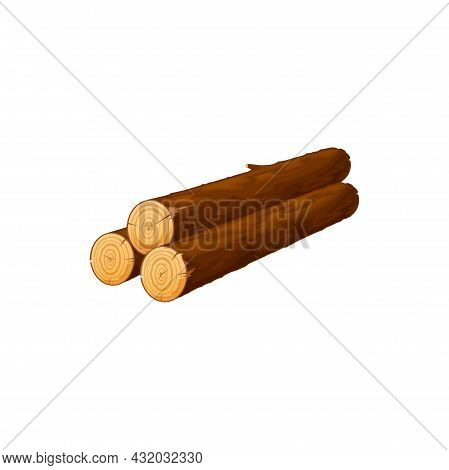 Stalked Oak Or Pine Timbers, Lumber Sticks Isolated Flat Cartoon Icon. Vector Stalk Of Tree Trunks,