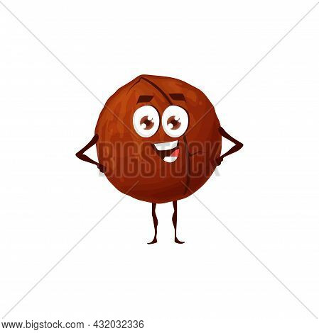 Hazelnut Emoticon With Cute Face Isolated Nut Emoji Flat Cartoon Character. Vector Cobnut Or Filbert