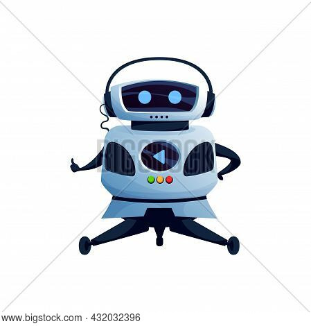Humanoid Robot In Headphones, With Display Buttons On Body Showing Cool Or Ok Gesture Sign Isolated