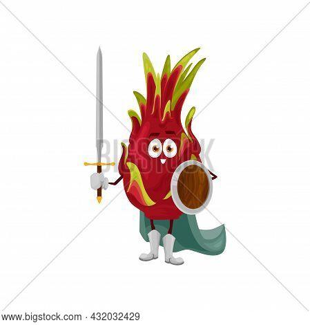Pitaya Fruit Superhero Cartoon Character, Vector Tropical Dragonfruit In Super Hero Costume. Dragon