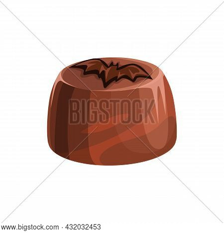 Candy With Praline And Ganache, Sugary Confection Topped By Chocolate Bat Isolated Realistic 3d Icon