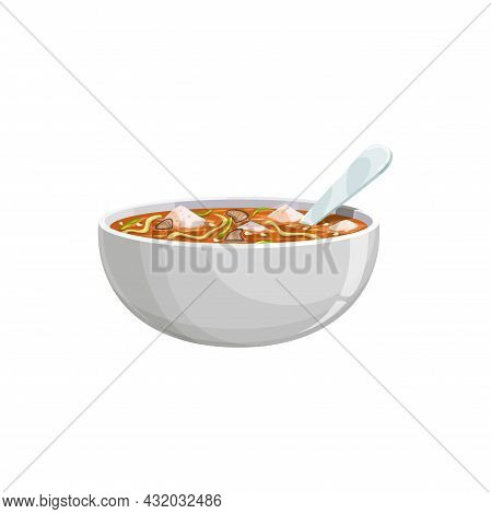 Soup With Soy Noodles And Tofu Cheese In Bowl With Spoon Isolated Asian Dish. Vector Indonesian, Jap