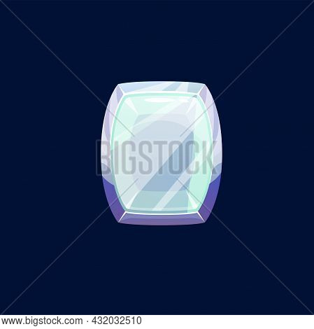Gem Stone Or Magic Crystal Vector Icon. Violet Or Turquoise Faceted Rock, Mineral Of Rounded Shape.