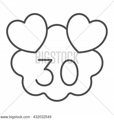 Hearts On Cloud With Number 30 Thin Line Icon, Love And Relationship Concept, Thirty Years Vector Si