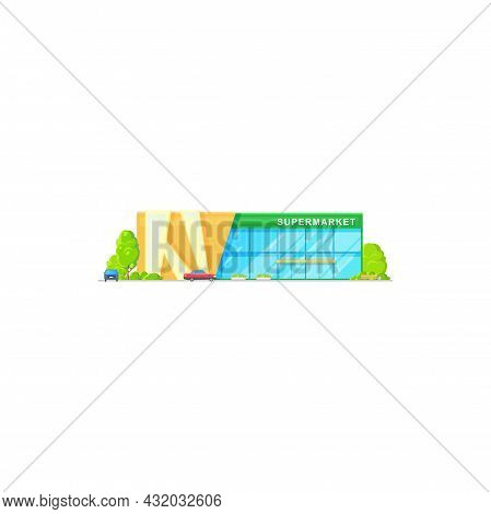 Supermarket Mall Building, Store Flat Icon, Vector City Shop, Front Outdoor View. Supermarket Exteri