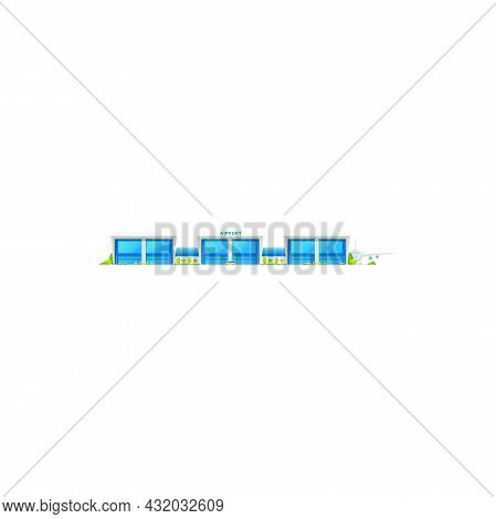 International Airlines Airport Terminal And Plane At Runway Isolated Icon. Vector Airport Glass Buil