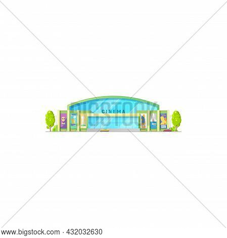 Cinema Theater Movie, Building Hall Icon, Vector House Entrance Front With Billboards. City Entertai
