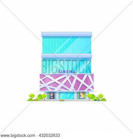 Cinema Movie Theater Building, City Modern Architecture, Vector, Theatre Hall Entrance. Cinema Movie