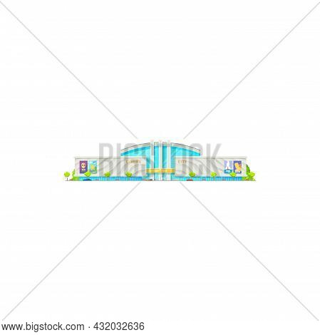 Cinema Or Movie Theater Building, City House Or Modern, Theatre With Sign And Marquee. City Cinema A