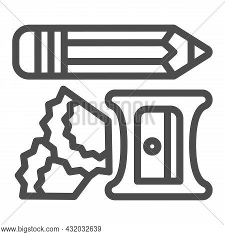 Pencil, Sharpener And Shavings Line Icon, Office Supplies Concept, Writing Implements Vector Sign On